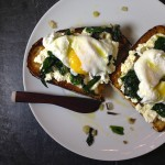 Ricotta Toast with Ramps and Poached Egg